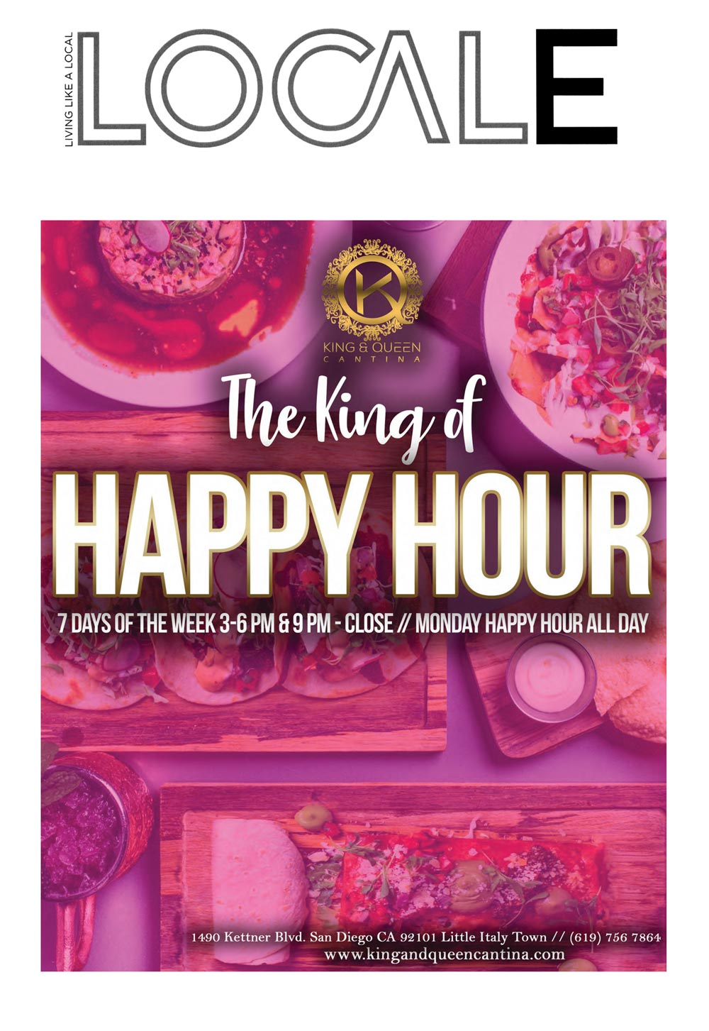 King and Queen Cantina happy hour poster featured in Locale