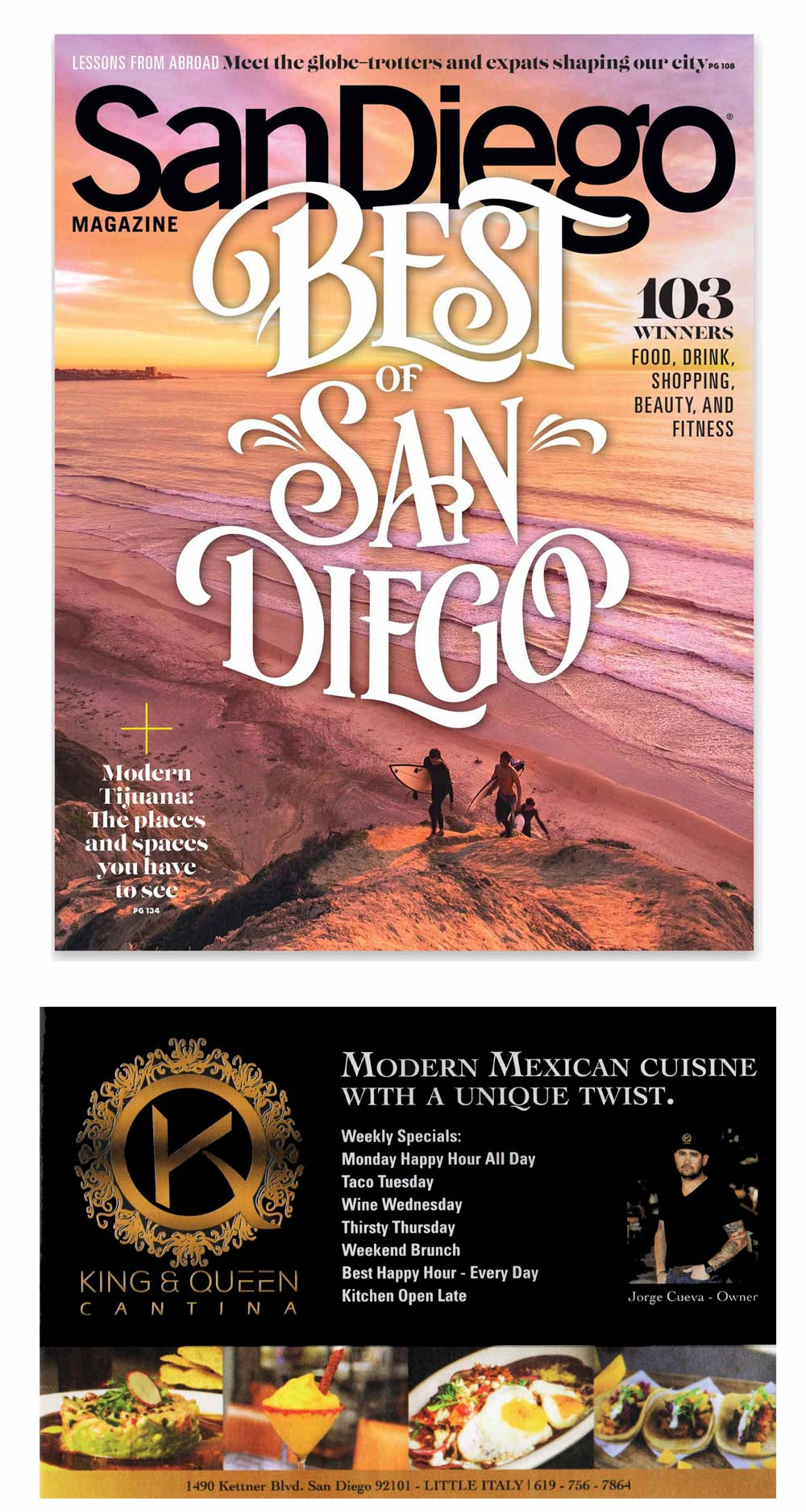 SanDiego magazine cover, best of San Diego, featuring King and Queen cantina